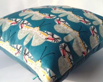 Moth Blue Butterfly Velvet Cushion Pillow