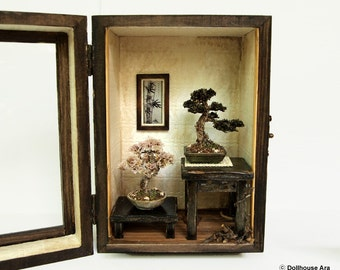 Bonsai Trees set, Vintage miniature Dollhouse 1/12 (BMS01)