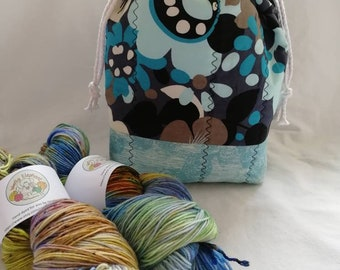 Blue flower Drawstring Project Bag - Knitting Bag - Crochet - Cross Stitch