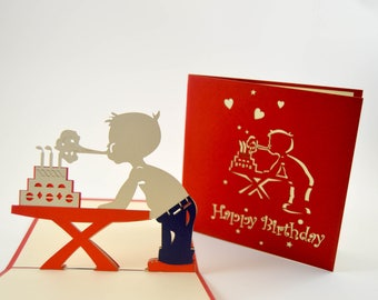 Birthday Card Boy, 3D Birthday Card, Happy Birthday Card, Greeting Card, Handmade Card, Birthday Greetings, Card for a Birthday