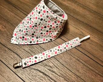 Baby bandana style bib and  binky clip, polka dot, pink, gray, multicolor, baby girl, baby shower gift, bib, drool bib, binky clip