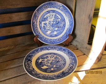 2 Blue & White Flow Blue Willow Dinner Plates - Willow Ware Homer Laughlin