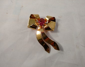 Large Ribbon Brooch, Gold Tone, Pink Rhinestone, Marked Sterling