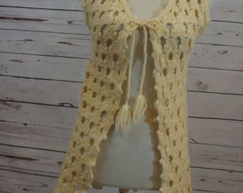 Cream Short Sleeve Knit Sweater