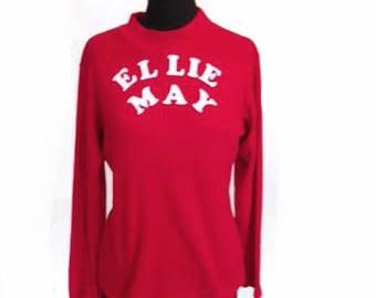 Vintage Ribbed Ellie May FIre Engine Red Turtleneck Shirt size L