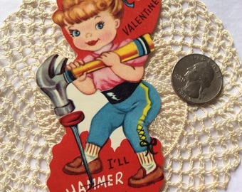 Vintage 1960s 1970s Valentine Card Little Girl With Hammer & Nail Made In USA Paper Ephemera Scrap Booking Arts Crafts