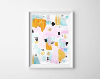 Abstract Watercolor Illustration: Deconstructed Sunset