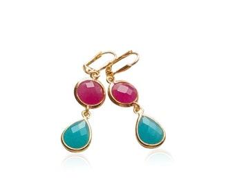 Fuchsia and Aqua Gems Dangle Earrings, Teardrop Pink and Aquamarine Gold Earrings, Bridesmaid Drop Earrings, Bridesmaid Bridal Shower Gift