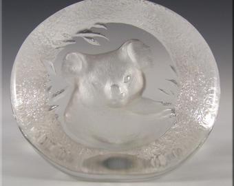 Mats Jonasson Glass Koala Bear Paperweight #9175 - Signed