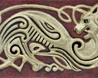 Celtic Cat - Cast Paper - Zoomorphics - Cat knot - Irish cat - Irish art - Celtic art - Scottish art - Kitty - Feline - Celtic knot