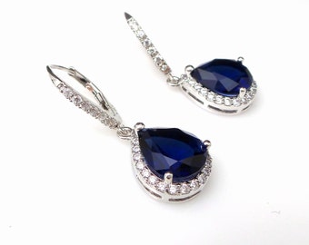 bridal wedding jewelry bridesmaid gift christmas prom rhodium deep navy sapphire teardrop micropave cubic zirconia leverback hook earrings