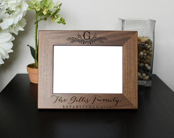 Personalized Picture Frame, Walnut Picture Frame, Personalized Photo Frame, Custom Photo Frame, Wedding Gifts, Custom Frame --pf-wal-gillis