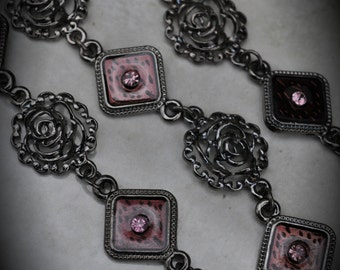 7 Inch GunMetal Chain With Crystals And Enamel