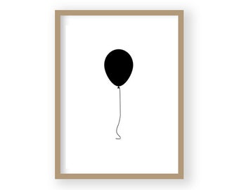 Black and White Decor, Black Balloon Art, Balloon Poster, Balloon Print, Scandi Decor, Nursery Decor, Minimilist Art, Graphic Art Print
