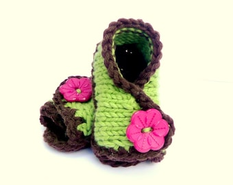 Knitting PATTERN BABY BOOTIES Shoes Slippers Baby Crossover Sandals Instant Download