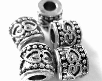 14 large hole beads antique silver textured spacers tibetan style rondelle beads large hole 8mm x 9mm Bus936-R6