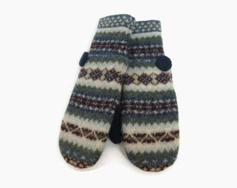 Sweater Mittens // Fleece Lined Felted Wool Mittens // Multi Colored Fair Isle Recycled Wool Sweater Mittens