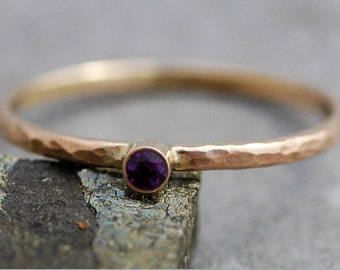 Amethyst on Thin Solid Recycled 14k Gold Stacking Engagement Ring- White or Yellow Gold Made to Order