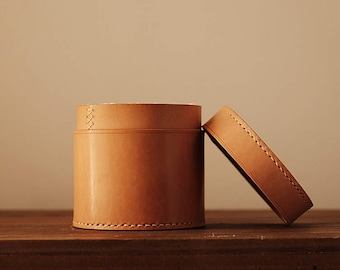 100% Handmade-stitched Leather Swab box Organizing Box storage box Vegetable Tanned Leather
