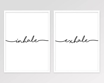 Inhale Exhale Yoga Wall Art, Minimalist Meditation Digital Print, Typography, Relaxation Print, Scandinavian Home Decor, Instant Download