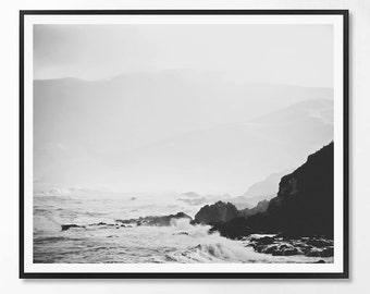 Sea Print, Black and White Photography, Minimal photo, Minimalist, Sea Wall Art, Landscape Photo, Ocean Print, Scandinavian Printable Art