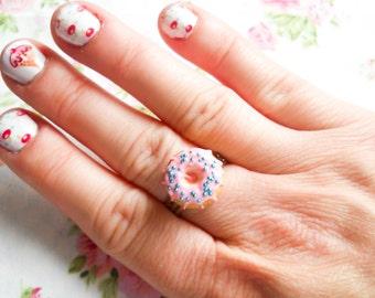 Donut Ring, Doughnut Ring, Donut, Doughnut, Cute Ring, Adjustable Ring, Polymer Clay, Ring, Pink, Sprinkle, Miniature Food, Food Ring