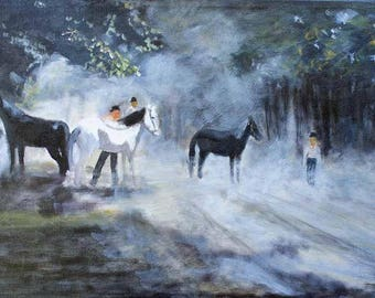 Horse Painting Oil on Canvas Original Eagle Valley Nevada Historic Painting Print Giclee Print Magnet Carol Lytle Free Shipping #112