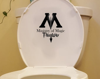 Ministry of Magic This way - Bathroom wall Decals - Wall Decal - Wall Decor - Vinyl Decal - Bathroom decals - Harry Potter decals