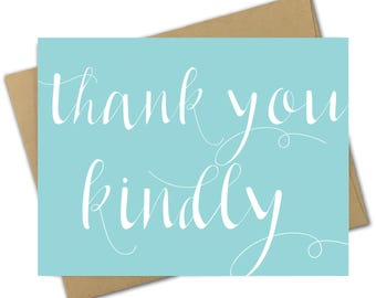 Greeting Card | Thank You | Thank You Kindly | Southern | Thanks | Blue