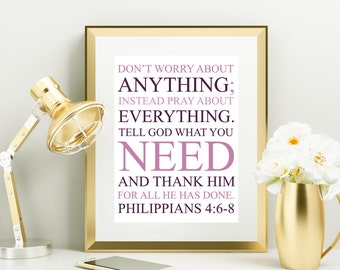 Bible Verse Quote Purple Lavender Pink White Nursery Inspirational Typography 8x10 Wall Art Decor Print Digital Download