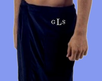 Luxury Spa Wrap for men, Velour, Cotton, pockets, One size fits most, monogrammed beach and home wear, for Fathers Day and Birthdays