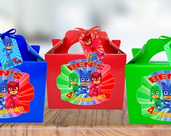 PJ MASKS Birthday Party treat, sweets, lunch, gift Box Personalised x 1
