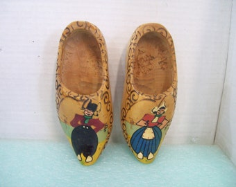Pair of Hand Painted, Hand Made Wooden Shoes, Holland Dutch Boy and Girl, Free Shipping, Wall Hanging H3