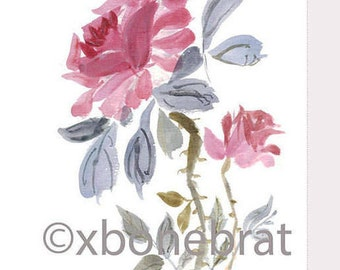 MARIA PINK Digital Art. Chinese Brush Painting. Watercolor. Greeting Card. Digital Card. Floral Cards. Flower Card. Digital Print Download.