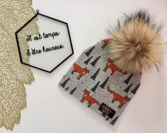 Hailey - Fox and forest cotton Hat