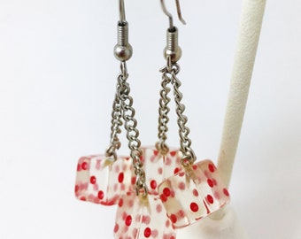 Vintage Red With White Polka Lucite Transparent Dice Dangle Earrings Mod Pop Art Rockabilly Gambling Fashionista Retro Art Deco
