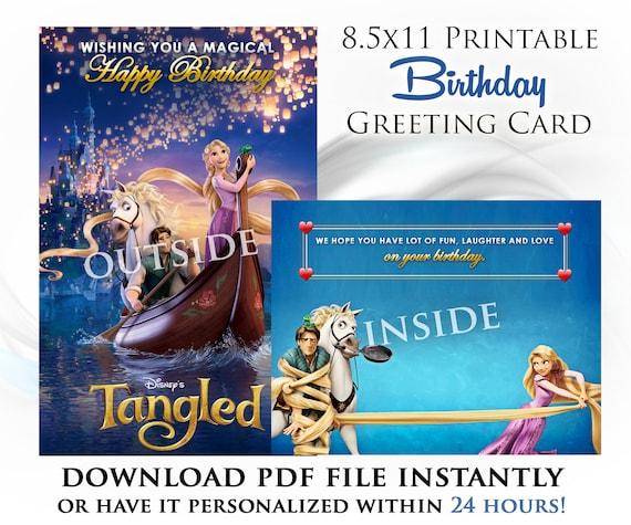 Tangled Printable Digital Birthday Card