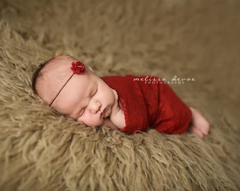 Brick Red Stretch Lace Wrap Newborn Photography Prop Baby Swaddle
