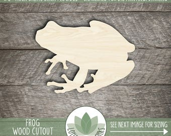 Wood Frog Laser Cut Shape, DIY Craft Supplies, Many Size Options, Wood Frog Cut Out, Kid Room Wall Decor, Blank Wood Shapes
