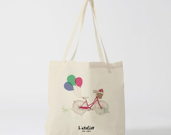 X134Y Tote bag bike balloons, bag canvas, cotton bag, diaper bag, purse, tote bag, bag of race, current bag, shopping bag