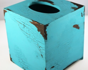 Turquoise Tissue (Kleenex) Box Cover, Distressed, Wood