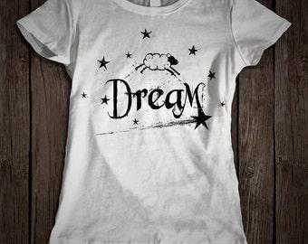 DREAM, Womens Tshirt, Sheep Tee, Pajama Shirt, Sweet Dreams