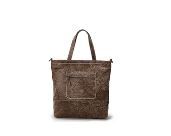 Brown embossed simple leather tote bag with front zipper pocket