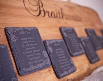 Rustic Oak & Slate Wedding Table Plan- Rustic Wedding - Seating Plan - Wedding Table Plan - Country Wedding - Wedding Decor - Rustic Wedding