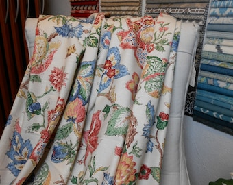 Multicolor Garden Floral Remnant Drapery Fabric, 7 Yard Piece, Bedding, Sewing, Home Decor