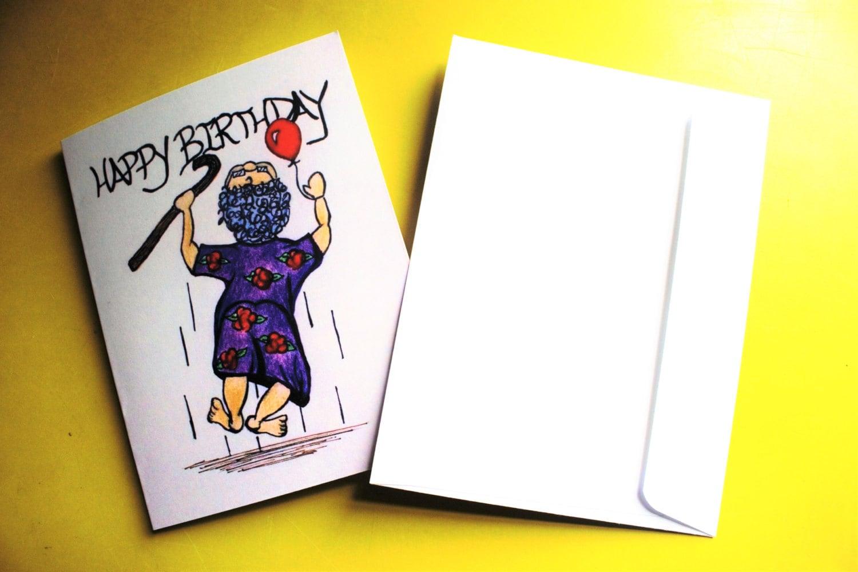 fun happy birthday greeting card of encouragement of elderly