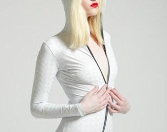 Stretch Vinyl White Mind Warping Robot Lover Futuristic Cyborg Bodysuit