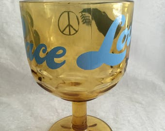 1970's Dove, Peace sign & Love Amber Goblet