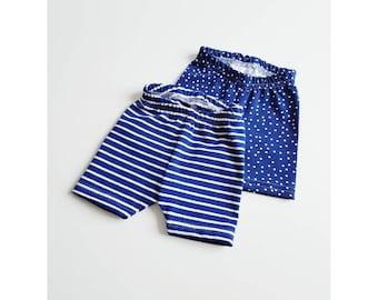 Organic Baby shorts 2 pack - -blue Baby Shorts - Organic Shorts - Cute Baby Shorts - Cool Baby Shorts - Summer Baby Shorts -Toddler Shorts