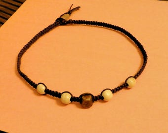 15 1/2 inch Flat Square Knot Hemp and Wooden Bead Choker Necklace